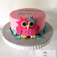 Girl Owl Baby Shower Cake Buttercream iced cake with fondant owl decoration