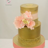 Gold And Coral Cake Gold and Coral Cake