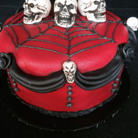 Gothic Birthday fondant covered cake with skull decorations
