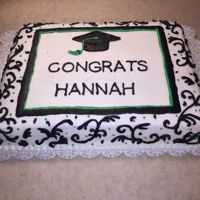 Graduation Cake This is a cake I made for my niece's graduation. Nothing special, just a white cake with all buttercream frosting.