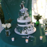 Green Wedding Cake green and white fondant wedding cake with white fondant roses and baby's breath