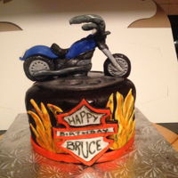 Harley Davidson Fatboy Cake Made this for my husband. Chocolate fudge Guiness cake with Guiness infused chocolate ganache filling