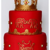 """indian Prince"" 1St B'day Cake !!   It was Indian Prince themed 1st B'day party with red and gold theme."