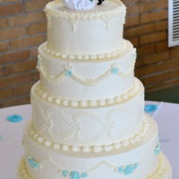 Ivory Wedding Cake Wedding Cake. Vanilla cake with lemon filling.Whew! Glad this one is done!!!