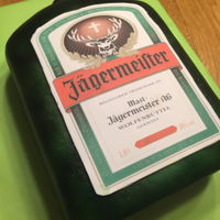 Jagermeister Bottle Sheet cake carved and covered in fondant. Edible image for the label.