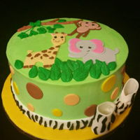 Jungle Baby Shower Little jungle baby shower cake. Buttercream with fondant decor
