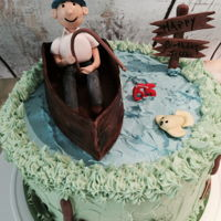 Just Fishin' Chocolate, vanilla & strawberry cakes with WABC frosting and fondant figures