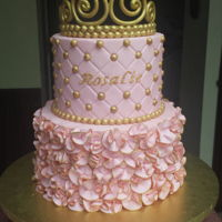 Little Princess Baby Shower Cake Buttercream cake with fondant ruffles and gumpaste tiara