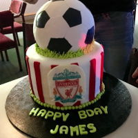 Liverpool Football Birthday Cake  liverpool footaball birthday cake.fondant covered cake with red stripes, edible wafer paper with liverpool logo on a white choc plaque....
