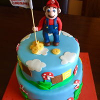 Mario Bros Cake Cake cover with fondant, Mario bros figure made white gumpaste