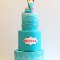 Mermaid Birthday Cake This is a cake I made for my niece who turned 3. It is an 8, 6 and 4 inch with extra tall tiers. The bottom tier is a scale texture using a...