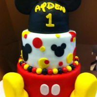 Mickey Mouse Birthday Also a Mickey smash cake all in chocolate with buttercream frosting under fondant