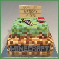 Mine Craft Fondant covered cake for a Minecraft themed birthday party