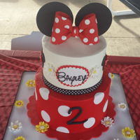 Minnie Mouse Birthday Cake Buttercream cake with fondant decorations