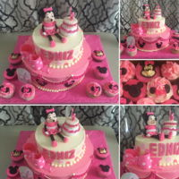 Minnie Mouse Cake And Cupcakes 2 levels12¨Strawberry Oreo cake with cookies and cream filling8¨ Same flavorButtercream decore 3D Fondant Minnie Mouse and...
