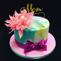 Mother's Day Cake Marbled Fondant 8 inch cake. Wafer paper flower.