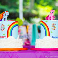 My Little Pony Rainbow Cakes I designed these cakes for sisters celebrating a birthday together. I wanted each to have their own, individual cake but have them connect...