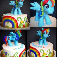 My Little Pony Rainbow Dash Cake This cake is made with vanilla buttercream and decorated with fondant and modeling chocolate. Rainbow Dash is made with modeling chocolate...