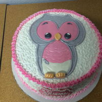 Owl Baby Shower Cake Devils food cake with a buttercream frosting. Owl was made using Fondx Elite, then used a pearl shimmer airbrushing.