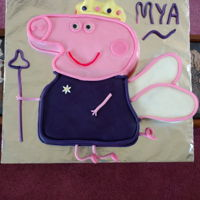Peppa Pig In Purple   CHOCOLATE CAKE W/ECLAIR FILLING COVERED IN MM FONDANT