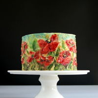 Poppies Buttercream painted cake