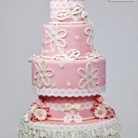 Pretty In Pink Fondant Cake with details in gumpase and sugar veil...Thanks for looking!Edna De la Cruzwww.designmeacake.com