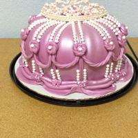 "Princess Cake Princess Cake made with a bundt pan, and a 9"" cake pan underneath. This was done with Fondx Elite fondant, airbrushed pink shimmer...."