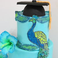 Proud As A Peacock This was a cake for my daughters graduation from SMU (Nova Scotia) Canada.It is 5 fruit flavours with a coconut smb. The peacock is cake...