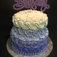 "Purple Ombre Rosette Cake This is a 10"" cake with an 8"" top. I used my cricut to make the Birthday sign. Purple gumballs decorate the bottom. Easiest cake..."