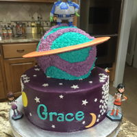 Saturn Sour cream cake with fondant accents
