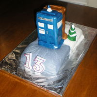 Sci-Fi / Fantasy Mash Up A combination Cake Request involving Dr.Who's Tardis and The Wardrobe from Narnia. The main building was made from Rice Krispie treats...