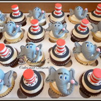 Seussical Cupcakes Horton and Cat in the Hat hat cupcakes