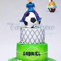 Soccer Cake A cake dedicated to Soccer. One of the favorite themes for the boys … The cake was fully decorated with SweetArt ( sugar paste...