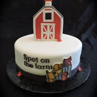Spot On The Farm   Topper is cereal treat covered in fondant. The plaques on side of cake were painted on gumpaste.