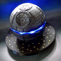 Star Wars Death Star Cake Star wars cake made with led lighting