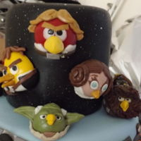 Starwars Angry Birds Sugarpaste Angry Bird characters for Grandsons 4th birthday