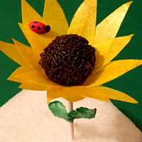 Sunflower Cake Pop   Made of Banana muffin cake pop with wafer paper and chocolate sprinkles