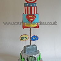 Super Hero 40Th Birthday Cake Super Hero 40th Birthday cake for a friend. This was the most scariest delivery I have ever had to make! I wasn't sure what I was...