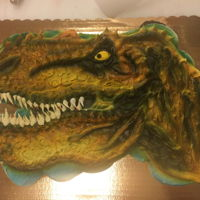 T. Rex Cupcake Cake 24 cupcakes decorated with buttercream and airbrushed