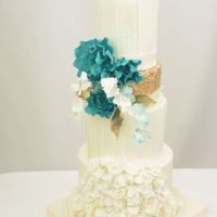 Teal White And Gold Cake 10th Anniversary Cake
