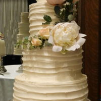 Textured Buttercream   10, 8, 6, and 4 inch tiers in textured buttercream with fresh flowers.