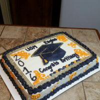 University Of Southern Mississippi Graduate Cake Sheet Cake w/ Rhinestone Ribbon