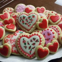 Valentine Cookies Heart shaped Valentine's Day sugar cookies, almond flavored cookie glaze, wet on wet painted