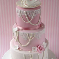 Vintage Tea Cup & Lace Wedding Cake Three tiers of pink! Bottom tier in chocolate, middle in vanilla, top in lemon :-)