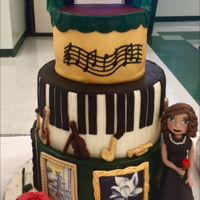Vpa Awards Cake Created for TCHS of Baltimore Visual and Performing Arts awards night and celebrating the themes of theater, art, band and choir. This...