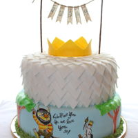 Where The Wild Things Are Max and his favorite Wild Thing are featured on this Where the Wild Things Are fondant decorated cake