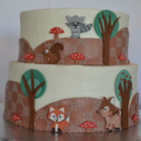 Woodland Creatures Baby Shower Cake This was a fun cake to do. I made a 3D owl for the top, but failed to get decent pictures of it.