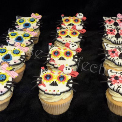Hello Kitty Sugar Skull Cupcakes