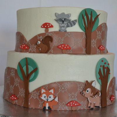 Woodland Creatures Baby Shower Cake