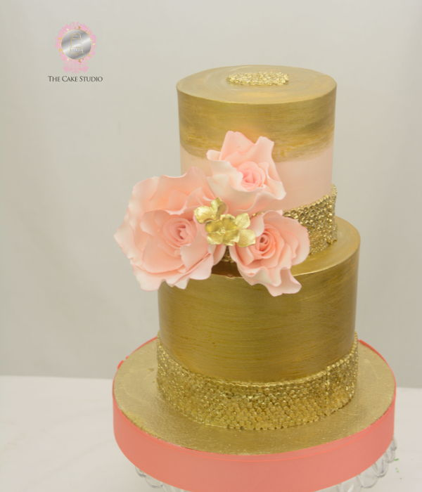 Gold And Coral Cake